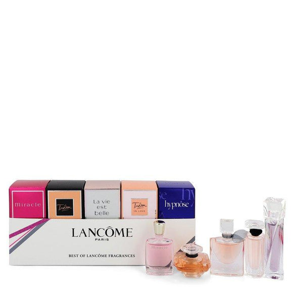MIRACLE by Lancome Gift Set -- Best of Lancome Gift Set Includes Miracle, Tresor, La Vie Est Belle, Tresor in Love and Hypnose all are .16 oz Eau De Parfum. Tresor is .25 oz Eau De Parfum. for Women - ParaFragrance
