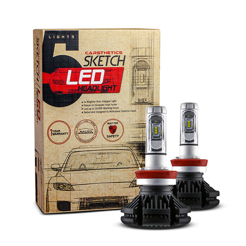 Carsthetics Sketch LED Headlight Steel - H11 Single Color Low Beam
