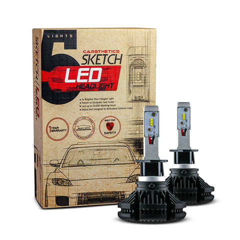 Carsthetics Sketch LED Headlight Steel - H1 Single Color Low Beam