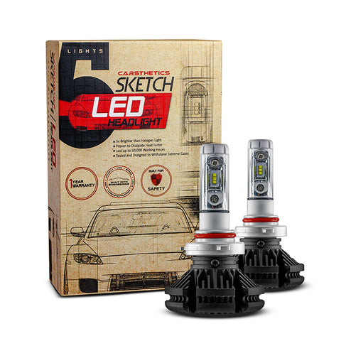 Carsthetics Sketch LED Headlight Steel - 9012 Single Color Low Beam