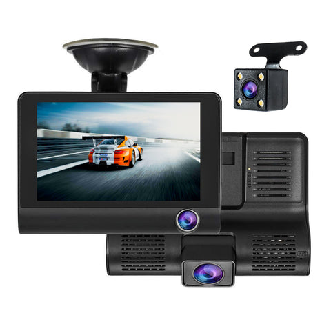 3 Way DVR Monitor Dash Cam Back Up Camera Video Recording