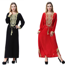 Load image into Gallery viewer, muslim abaya long sleeve Malay dress