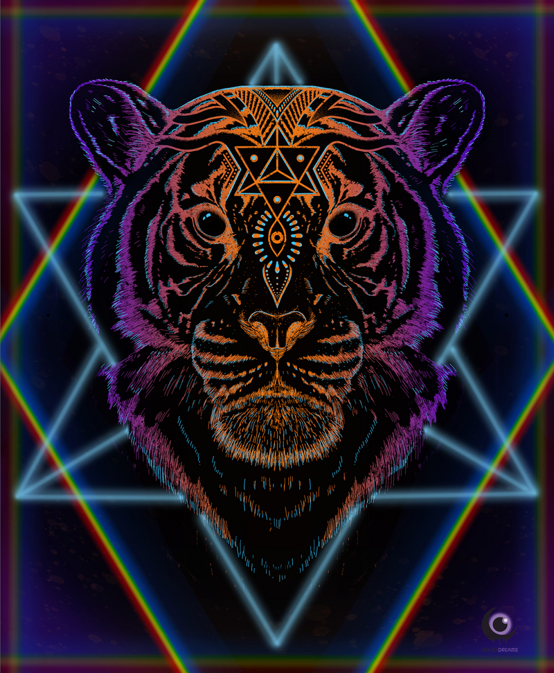 Cosmic Tiger Tapestry