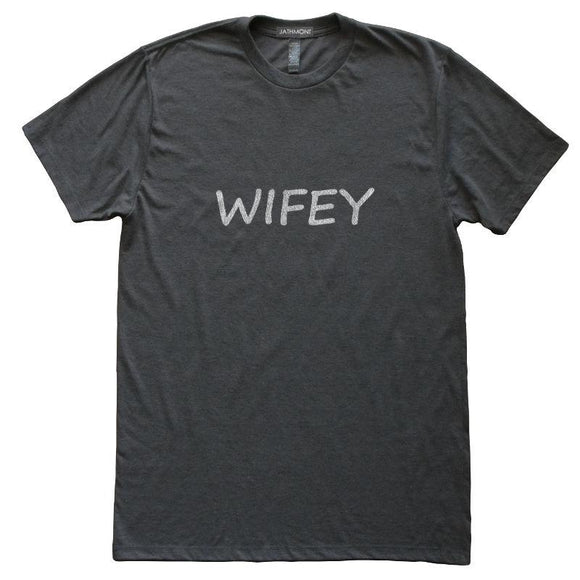 Wifey T-Shirt, Heather Black, Fitted, Wife Husband Couple Marriage T Shirts - Item 140035-HBK