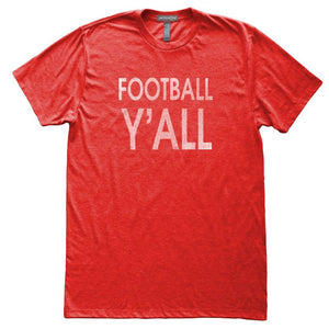 Football Y'All T-Shirt, Heather Red, Fitted, Unisex, Fall Ball Belle Girl Southern Charm T Shirts - Item 140067-HRD