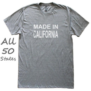 Made In State T-Shirt, Heather Grey, Fitted, Unisex, Love Hometown Local Born In Birthplace T Shirts - Item 140068-HGY