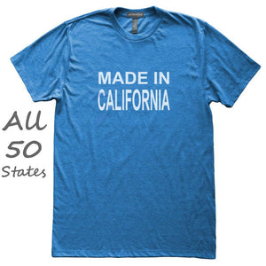 Made In State T-Shirt, Heather Royal, Fitted, Unisex, Love Hometown Local Born In Birthplace T Shirts - Item 140068-HRL