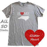 Glitter Heart Home Love State T-Shirt, Heather Grey, Fitted, Sparkle Hometown T Shirts - Item 140073-HGY
