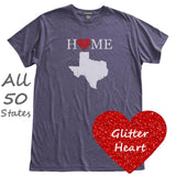 Glitter Heart Home Love State T-Shirt, Heather Midnight Blue, Fitted, Sparkle Hometown T Shirts - Item 140073-HMB
