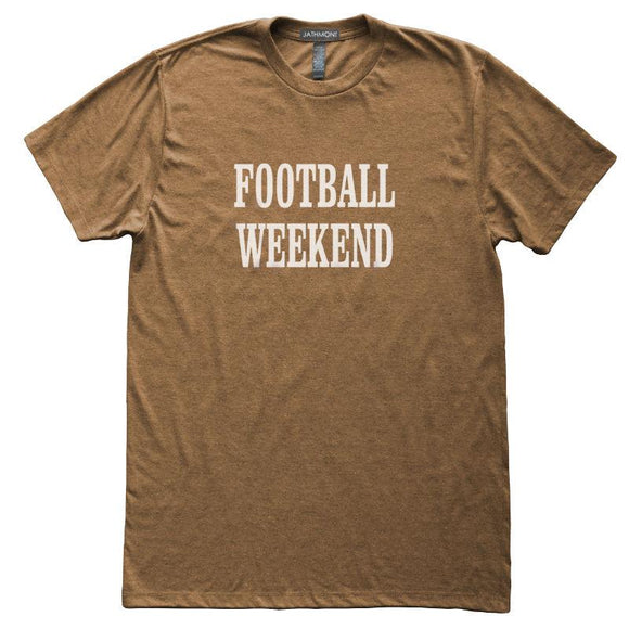 Football Weekend T-Shirt, Heather Brown, Fitted, Unisex, Fall Ball Tailgating Sports Fan T Shirts - Item 140083-HBR