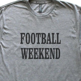 Football Weekend T-Shirt, Heather Grey, Fitted, Unisex, Fall Ball Tailgating Sports Fan T Shirts - Item 140083-HGY