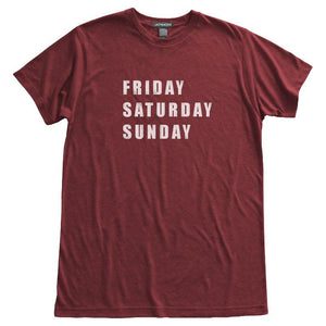 Friday Saturday Sunday T-Shirt, Heather Berry, Fitted, Unisex, Long Holiday Weekend TGIF T Shirts - Item 140103-HBY