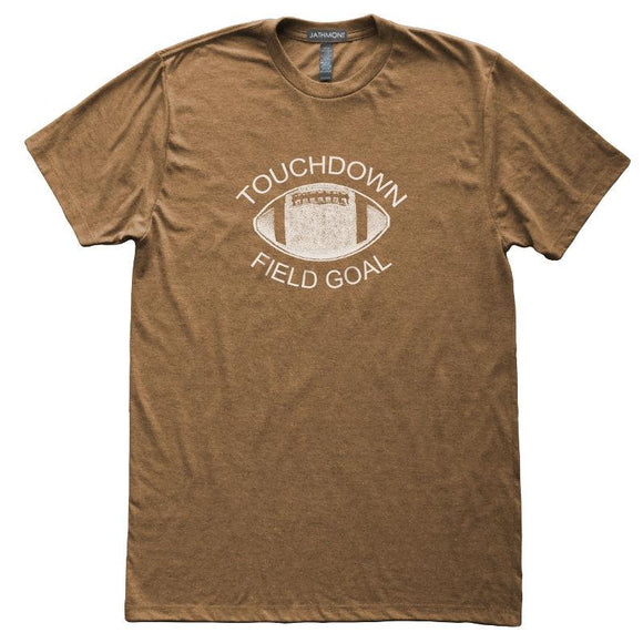 Touchdown Field Goal T-Shirt, Heather Brown, Fitted, Unisex, Fall Ball Tailgating Sports T Shirts - Item 140114-HBR