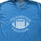 Touchdown Field Goal T-Shirt, Heather Royal, Fitted, Unisex, Fall Ball Tailgating Sports T Shirts - Item 140114-HRL