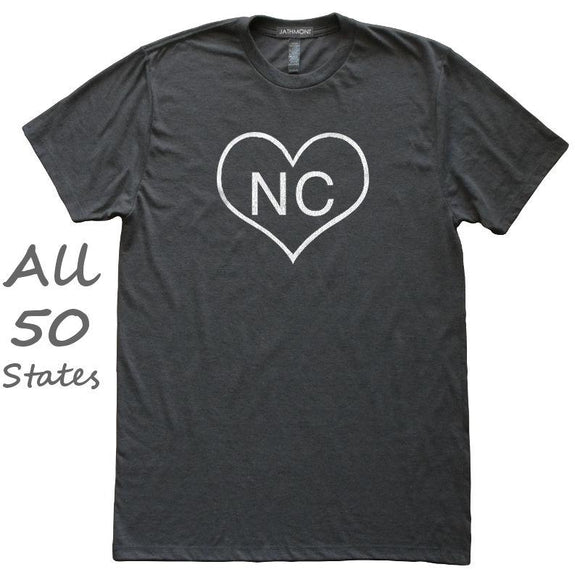 Heart Shape Outline State Love T-Shirt, Heather Black, Fitted, Hometown T Shirts - Item 140130-HBK