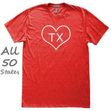 Heart Shape Outline State Love T-Shirt, Heather Red, Fitted, Hometown T Shirts - Item 140130-HRD