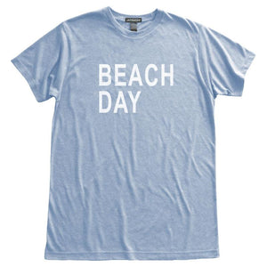 Beach Day T-Shirt, Heather Blue, Fitted, Seashore Summer Weekend Vacation Beachwear T Shirts - Item 140139-HBL