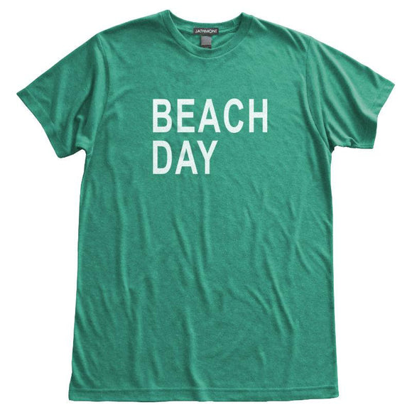 Beach Day T-Shirt, Heather Green, Fitted, Seashore Summer Weekend Vacation Beachwear T Shirts - Item 140139-HGN