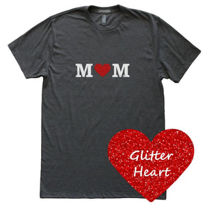 Glitter Heart Mom T-Shirt, Heather Black, Fitted, Sparkle Glam Love Mother T Shirts - Item 140148-HBK