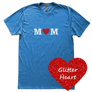 Glitter Heart Mom T-Shirt, Heather Royal, Fitted, Sparkle Glam Love Mother T Shirts - Item 140148-HRL