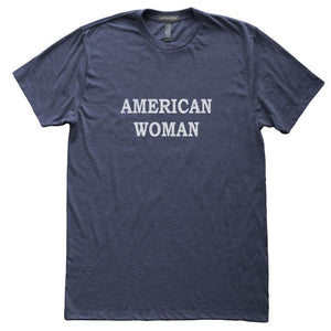American Woman T-Shirt, Heather Navy, Fitted, Patriotic Independence Fourth of July T Shirts - Item 140151-HNV