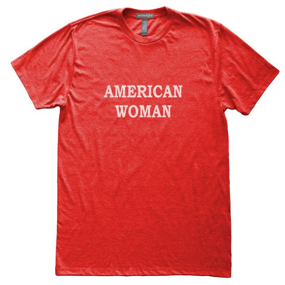 American Woman T-Shirt, Heather Red, Fitted, Patriotic Independence Fourth of July T Shirts - Item 140151-HRD