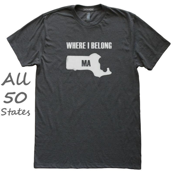 Where I Belong State T-Shirt, Heather Black, Fitted, Unisex, Love Home Born In Birthplace T Shirts - Item 140154-HBK
