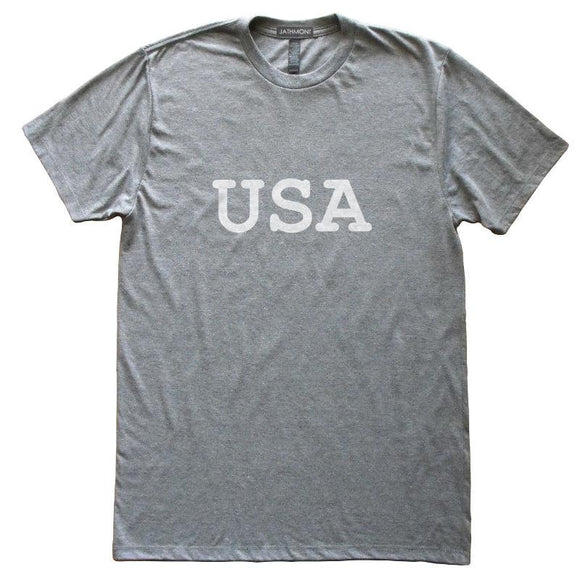 USA T-Shirt, Heather Grey, Fitted, Unisex, Patriotic Independence Day Fourth of July T Shirts - Item 140162-HGY