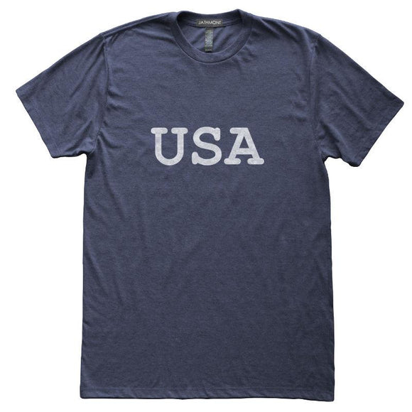 USA T-Shirt, Heather Navy, Fitted, Unisex, Patriotic Independence Day Fourth of July T Shirts - Item 140162-HNV