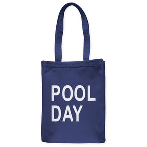 "Pool Day Swim Tote Bag, Navy Blue, 10.5""x14"", Cotton, Summer Weekend Vacation Beachwear Bags Totes - Item 140163-NVY"