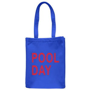 "Pool Day Swim Tote Bag, Royal Blue, 10.5""x14"", Cotton, Summer Weekend Vacation Beachwear Bags Totes - Item 140163-RBL"