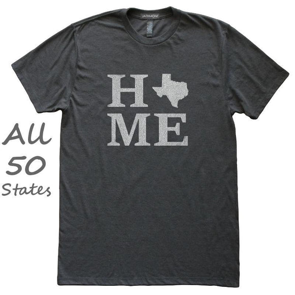 Home State T-Shirt, Heather Black, Fitted, Unisex, Hometown Love T Shirts - Item 140165-HBK
