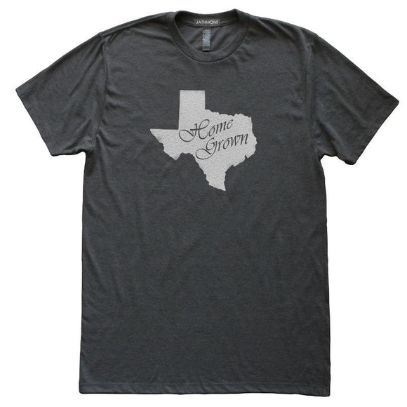 Texas Home Grown State Love T-Shirt, Heather Black, Fitted, Local Born In Birthplace T Shirts - Item 140170-HBK