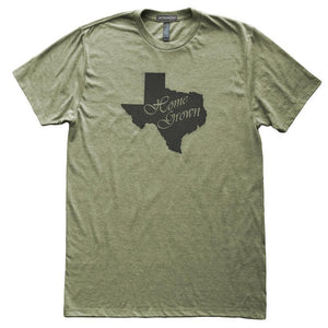 Texas Home Grown State Love T-Shirt, Heather Olive, Fitted, Local Born In Birthplace T Shirts - Item 140170-HOL