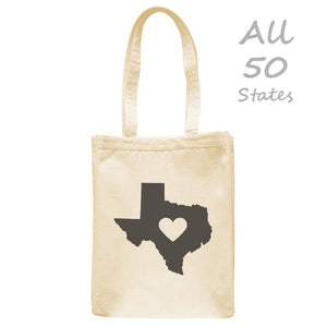 "Love State Center Heart Tote, Natural, 10.5""x14"", Cotton, Hometown Bags Totes - Item 140172-NTL"