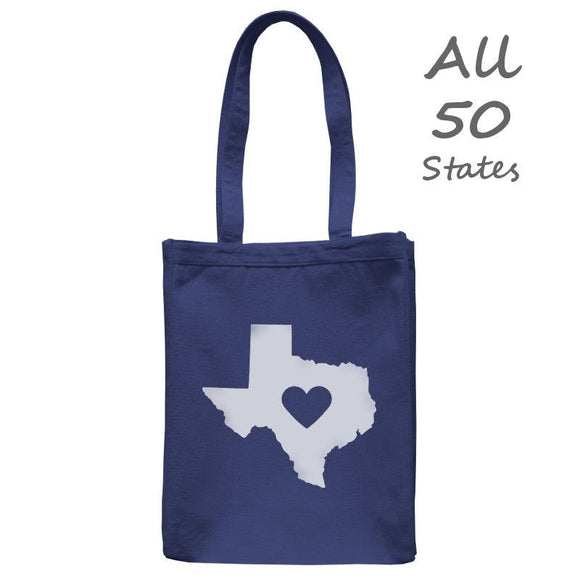 Love State Center Heart Tote, Navy, 10.5