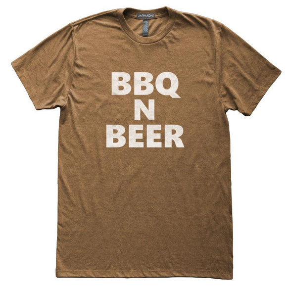 BBQ n Beer T-Shirt, Heather Brown, Fitted, Unisex, Meat Lover Home Chef Cook Foodie T Shirts - Item 140173-HBR