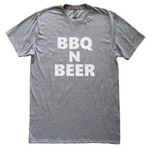 BBQ n Beer T-Shirt, Heather Grey, Fitted, Unisex, Meat Lover Home Chef Cook Foodie T Shirts - Item 140173-HGY