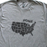 USA Map State T-Shirt, Heather Grey, Fitted, Unisex, Patriotic Love Science Geography T Shirts - Item 140174-HGY