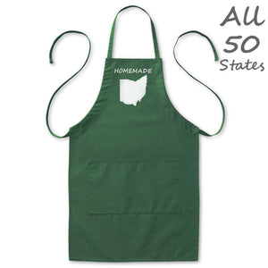 "Homemade State Love Kitchen Apron, Mens/Womens, Green, 2 Pockets, 20""x30"", Adjustable Neck Loop, Aprons - Item 140182-GRN"