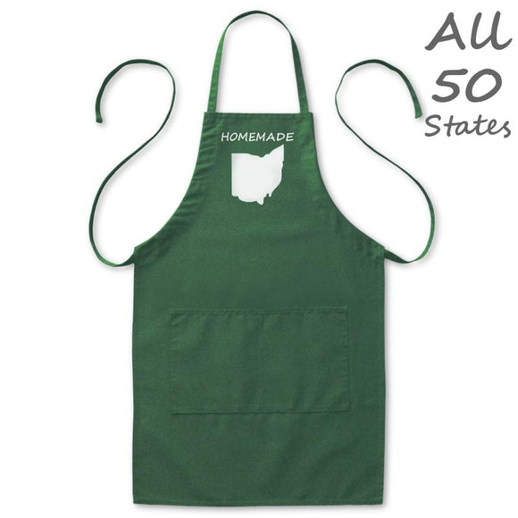 Homemade State Love Kitchen Apron, Mens/Womens, Green, 2 Pockets, 20