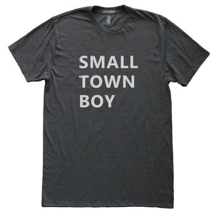 Small Town Boy T-Shirt, Heather Black, Fitted, Hometown Birthplace State Love T Shirts - Item 140183-HBK