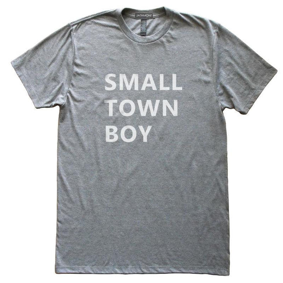 Small Town Boy T-Shirt, Heather Grey, Fitted, Hometown Birthplace State Love T Shirts - Item 140183-HGY