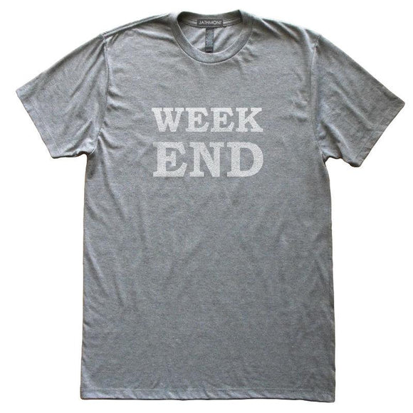Week End T-Shirt, Heather Grey, Fitted, Unisex, Long Holiday Friday Saturday Sunday TGIF T Shirts - Item 140185-HGY