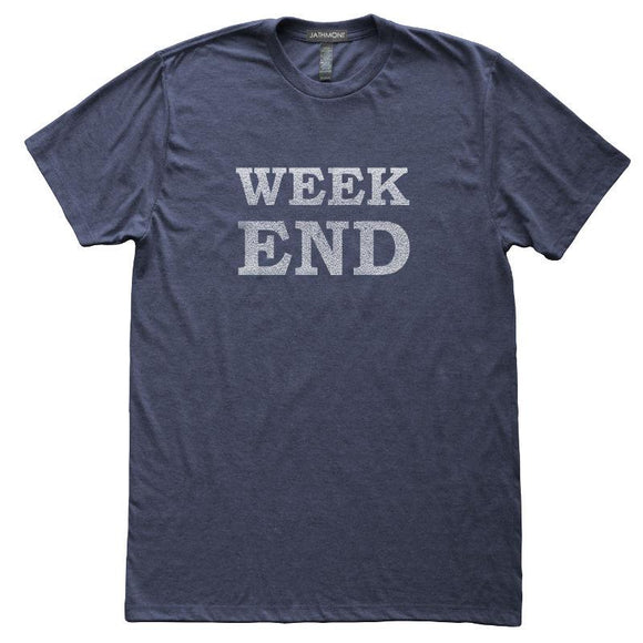 Week End T-Shirt, Heather Navy, Fitted, Unisex, Long Holiday Friday Saturday Sunday TGIF T Shirts - Item 140185-HNV