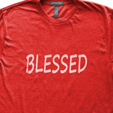Blessed T-Shirt, Heather Red, Fitted, Spiritual Motivational Inspirational T Shirts - Item 140188-HRD