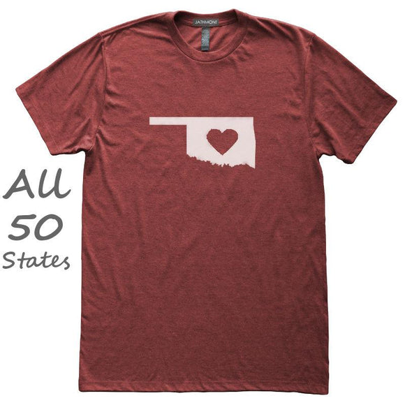 Love State Center Heart T-Shirt, Heather Burgundy, Fitted, Hometown T Shirts - Item 140189-HBG