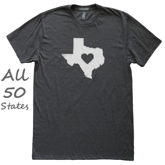 Love State Center Heart T-Shirt, Heather Black, Fitted, Hometown T Shirts - Item 140189-HBK