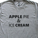 Apple Pie & Ice Cream T-Shirt, Heather Grey, Fitted, Unisex, Chef Cook Baker Dessert Foodie T Shirts - Item 140190-HGY