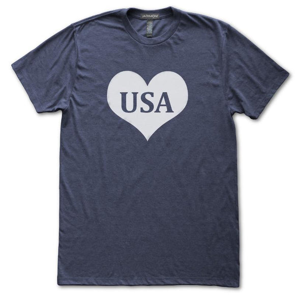 USA Heart T-Shirt, Heather Navy, Fitted, Patriotic Independence Day Fourth of July T-Shirts - Item 140191-HNV